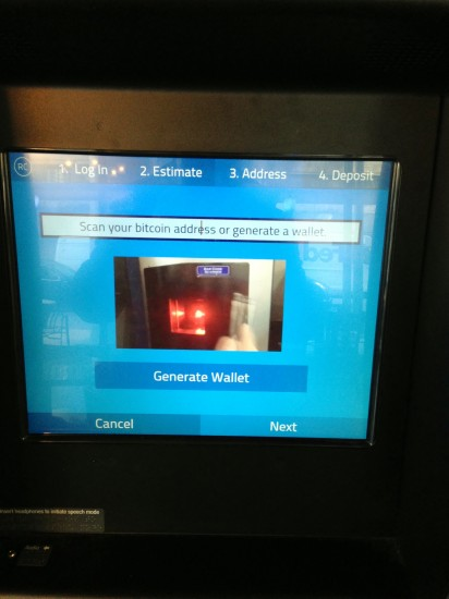 비트코인 주소를 스캔하거나 지갑을 생성하라는 화면